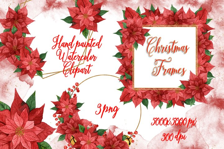 Watercolor Christmas Poinsettias Frames Clipart