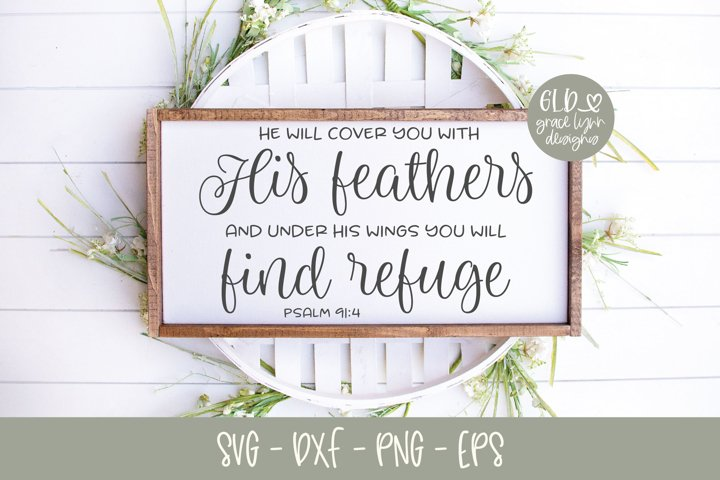 He Will Cover You With His Feathers - Scripture SVG