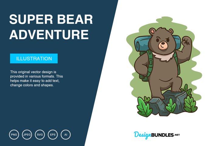 Super Bear Adventure Vector Illustration