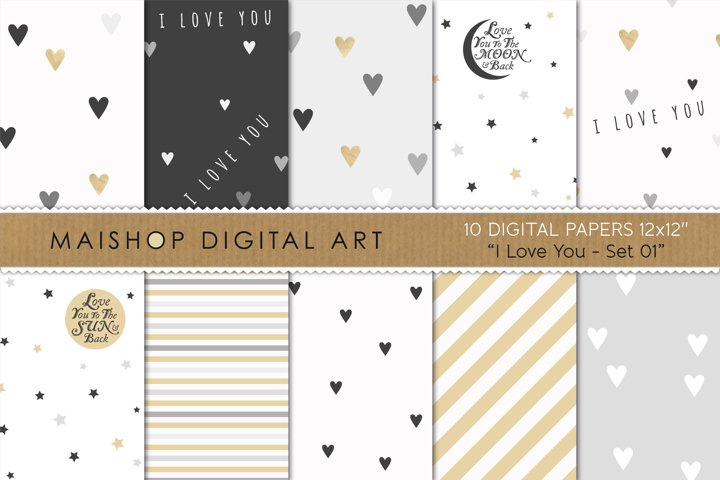Instant Download Digital Paper Pack - I love You Set 01