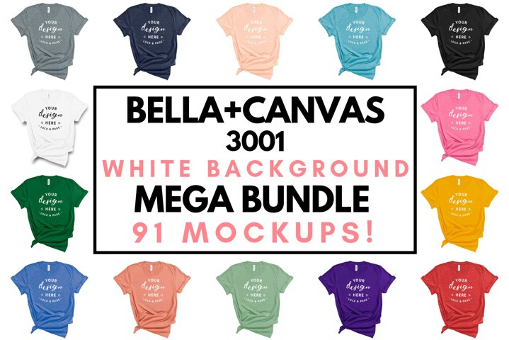 Bella Canvas 3001 T-Shirt Mockup Bundle All Colors On White