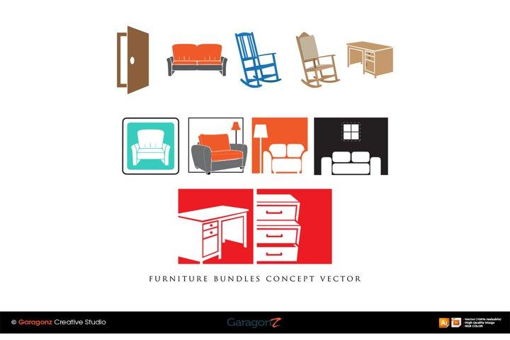 furniture bundles concept vector