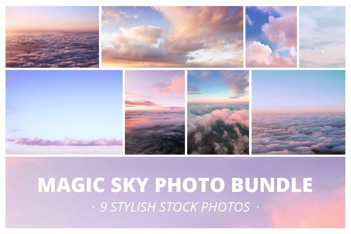 Magic sunset sky with clouds Bundle
