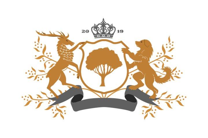 Deer and dog emblem logo template