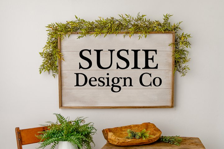Fern & Greenery Farmhouse Large Wall Sign Mock Up
