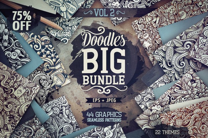 -75 SALE/ Big Doodle Graphics Patterns Bundle #2