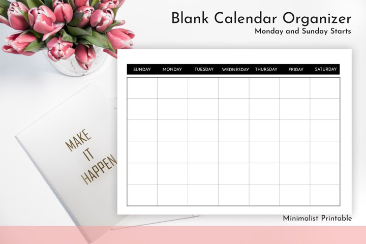 Blank Calendar - Calendar Printable   JPG - PDF
