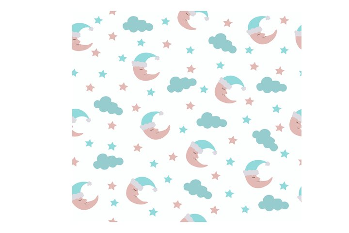seamless pattern with moon and stars EPS 10