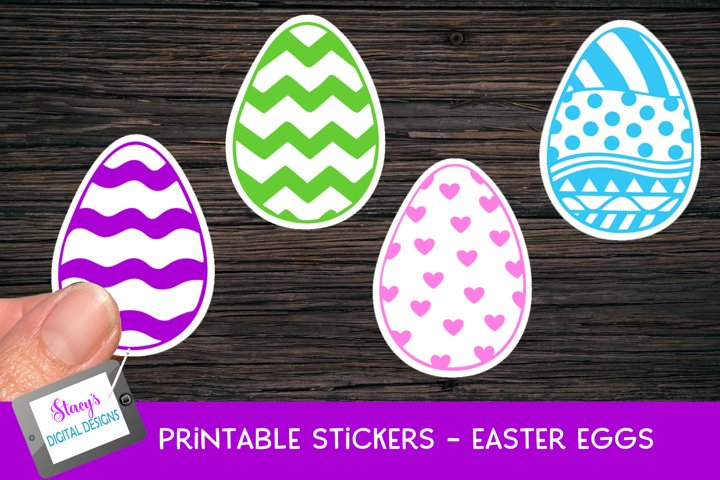 Easter Stickers - 4 Printable Easter Egg Stickers - PNG