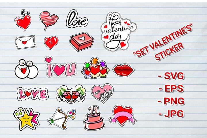 bundles set valentines Day stickers