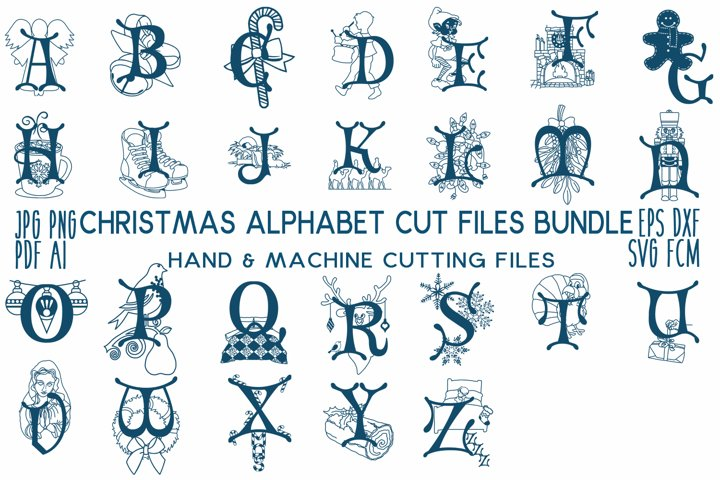 Christmas Alphabet Cut File Bundle jpg/png/pdf/svg/fcm