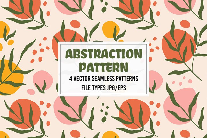 Vector seamless pattern with abstract shapes and leaves.