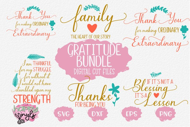 Gratitude Bundle - An SVG Digital Cut File Bundle