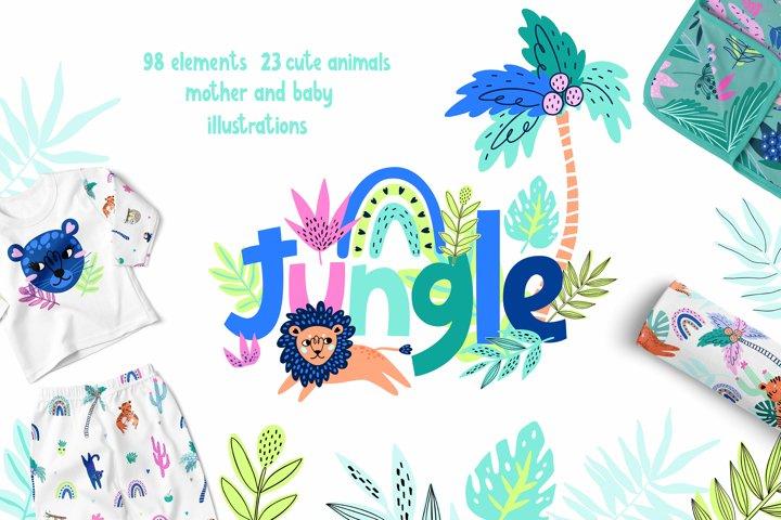 Nursery Art Jungle Animals Illustrations Patters & More Bund