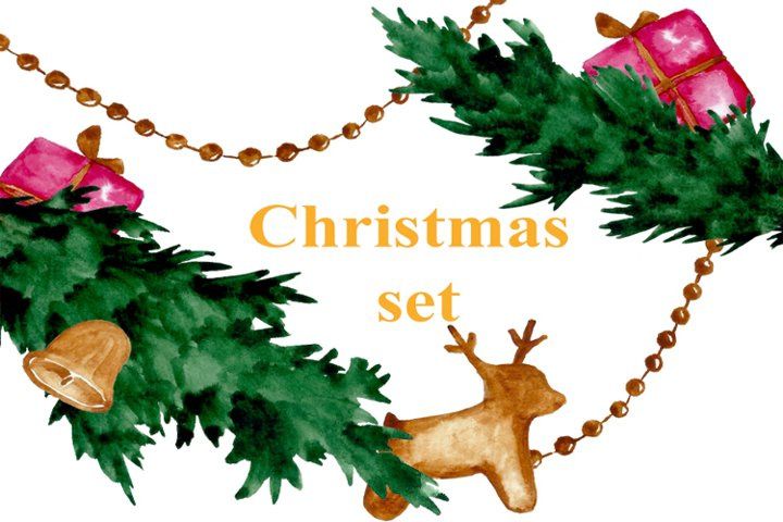 Christmas decorative watercolor set of 9 compositions