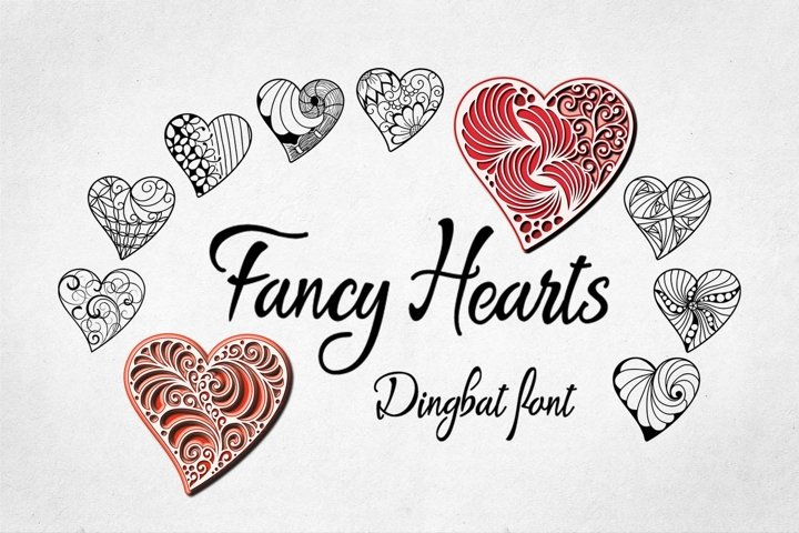 Fancy Hearts Dingbat Font
