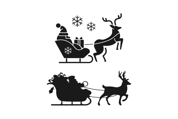 Santa Claus on a sleigh with a reindeer icons set