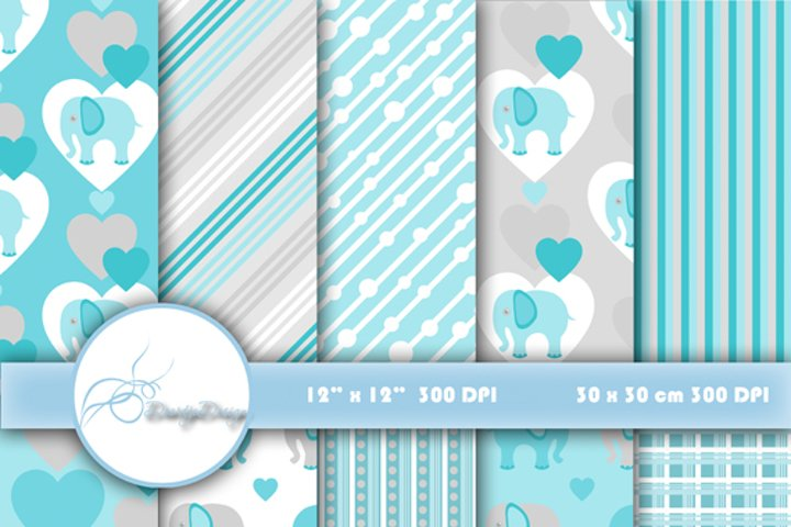 Digital paper pack Elephant