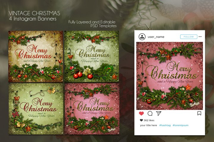 GLITTER! 4 Christmas Wishes - Instagram Banners PSD