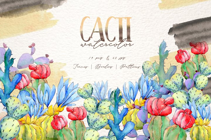 Cool colorful cacti PNG watercolor set example
