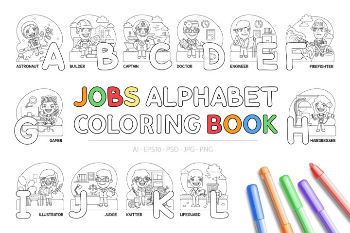 Jobs Alphabet Coloring Book