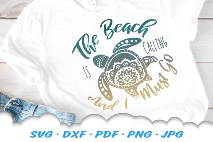 The Beach Is Calling Mandala Sea Turtle SVG DXF Cut Files