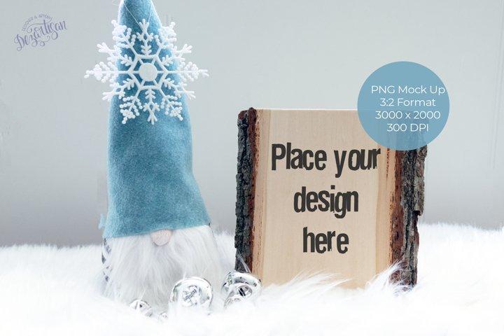 Christmas Gnome Wood Slab Mock Up