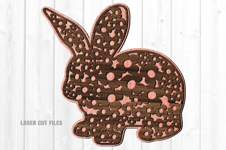 Floral Print Easter Bunny Wall Art SVG Glowforge Laser Files