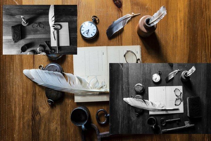 vintage writing items on a wooden table, nostalgia