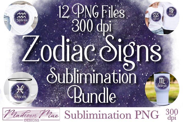 Zodiac Signs Sublimination Bundle - 12 PNG Files