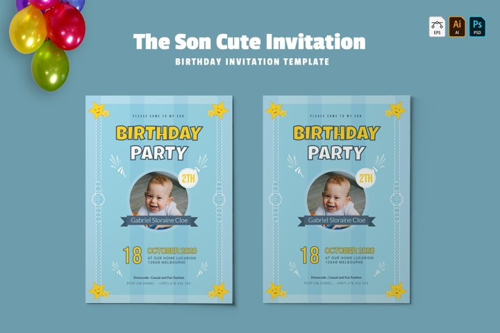 Son Cute | Birthday Invitation