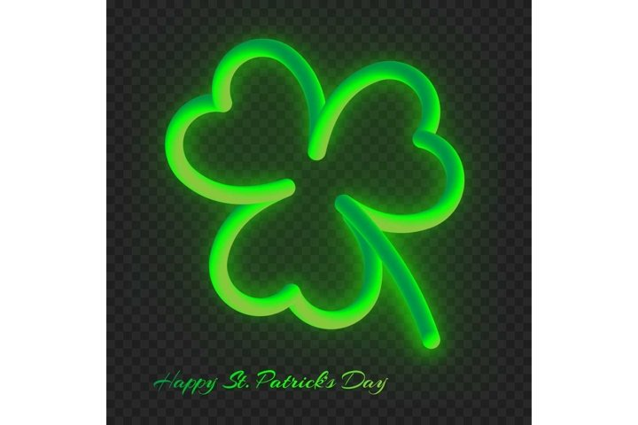 Neon clover leaf with a gradient