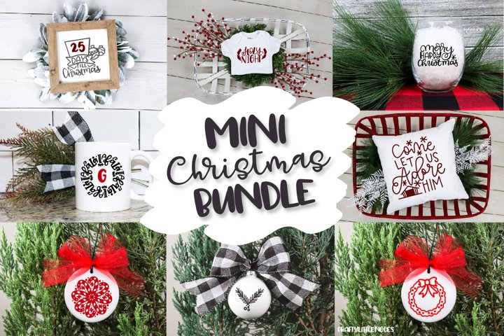 Mini Christmas Bundle - Hand lettered SVG Cut Files example