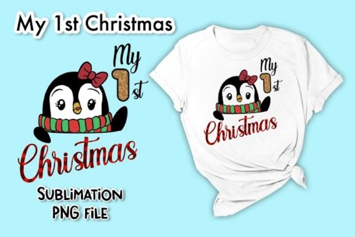 Penguin My 1st Christmas Sublimation PNG Graphic