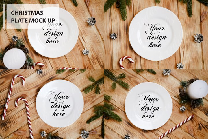 6 White Plate Mock-up, Christmas decorations, candles, tree