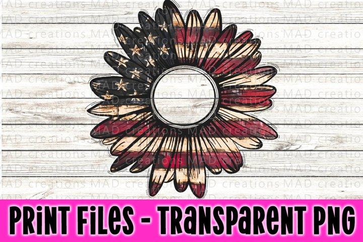 American Flag - Patriotic - Rustic Sunflowers - Print Files
