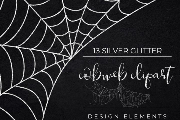 Silver Glitter Halloween Spider Web Clipart-Cobweb PNG