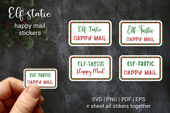 Envelope Elf happy mail Stickers | Christmas gift tags | SVG