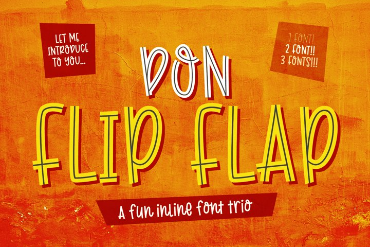 Don Flip Flap - a fun, big impact, inline font trio