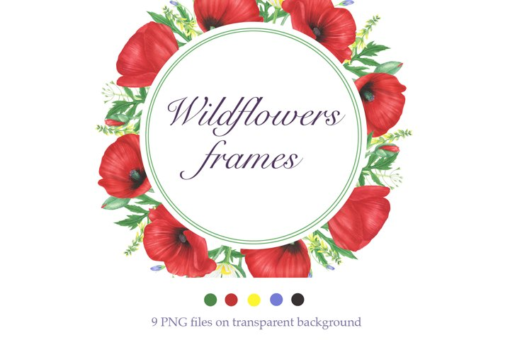Watercolor Wildflowers frames