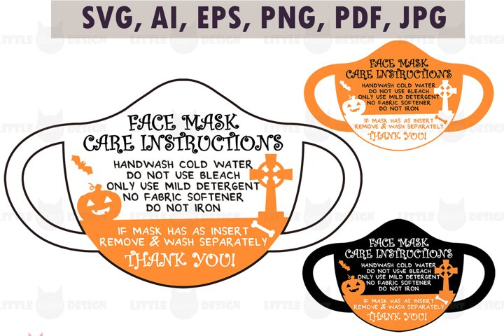 Halloween Face Mask Card SVG, Care Card Template, Clip Art