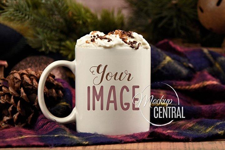 Cozy Christmas Coffee Glass Mug Mock Up, JPG Cup Mockup