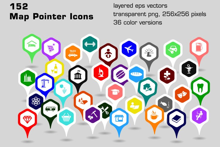 152 map pointer icons - hexagonal shapes
