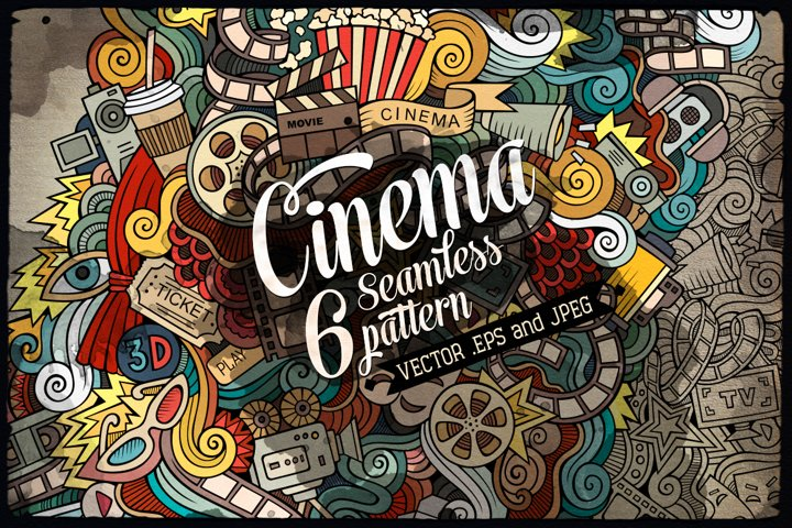 6 Cinema Doodles Seamless Patterns