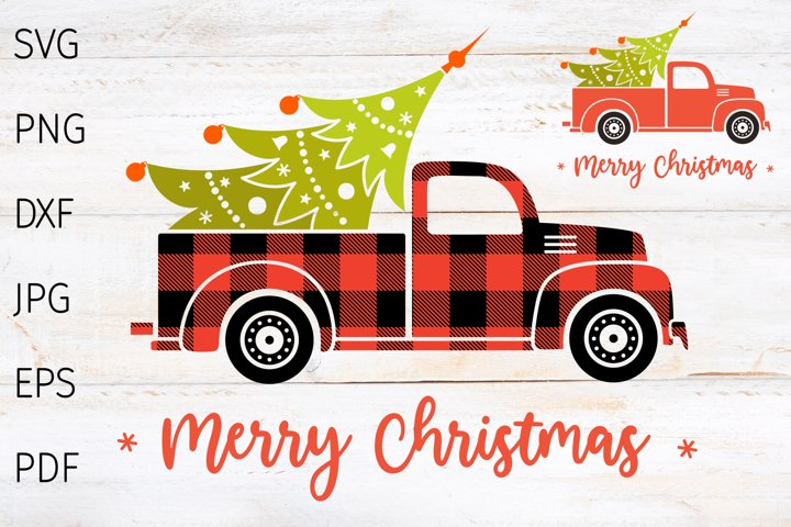 Christmas truck svg, red truck with tree buffalo plaid svg.