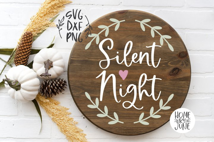 Silent Night Round/Circle Christmas Sign Decor