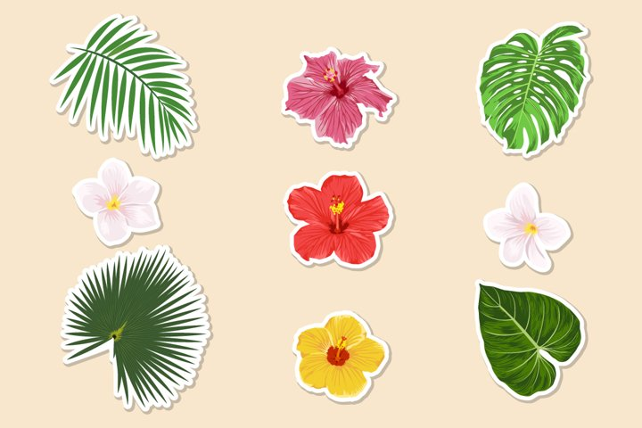 Tropical plants -paper stickers.