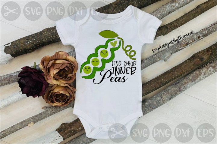 Find Your Inner Peace, Peas, Pod, Heart, Cut File, SVG