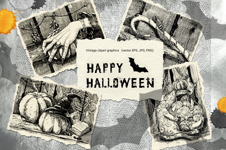 Vintage Halloween clipart. Black and white graphics postcard