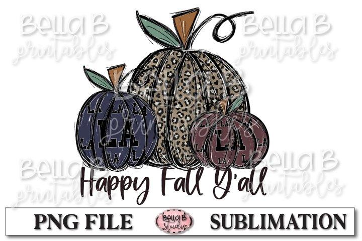 Louisiana Fall Pumpkins Sublimation Design